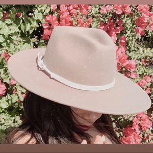 Anthropologie Grey Anna Trimmed Rancher Hat